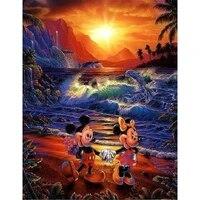 Peinture de diamant theme Mickey et dauphin  kit de broderie 5D  mosaique  points de croix  perles carrees ou rondes  decoration dinterieur  cadeau