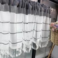 modern home decoration grey stripe printed fringe short curtain finished sheer drapes for living room kitchen window screen 4