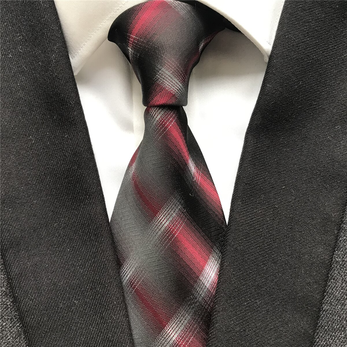 10 cm Width New Design Mens Ties Jacquard Woven Neck Tie Fashion Red Plaids Corbatas Neckties for Wedding Meeting