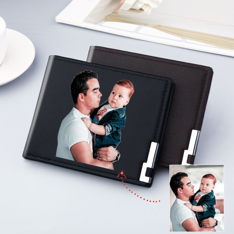 Photo Custom Picture Business Small Slim Wallet Men Credit Card Holder Case Purse Personalized Gift