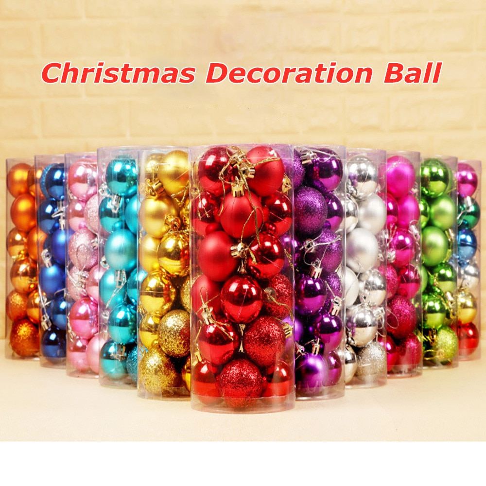 24 PCS New Christmas Decorations Baubles Tree Xmas New Year Decoration Balls Home Party Wedding Ornament christmas tree decoration ball metal decoration home christmas ornament decoration christmas party party hanging ball ornament