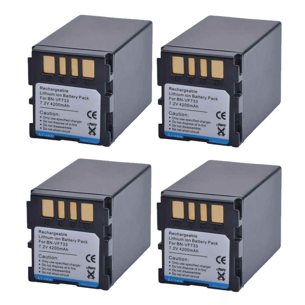 4PC 4200mAH BN-VF733 BNVF733 BN VF733 Rechargeable Li-ion Battery For JVC BN-VF733 BN-VF707U BN-VF714U BN-VF733U Digital Camera