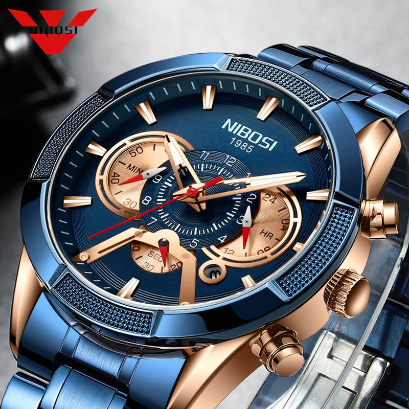 NIBOSI 2021 ساعات رجالي أزرق ساعة رجالية فاخرة ماركة رياضية كرونوغراف كوارتز ساعة معصم التاريخ مقاوم للماء Relogio Masculino