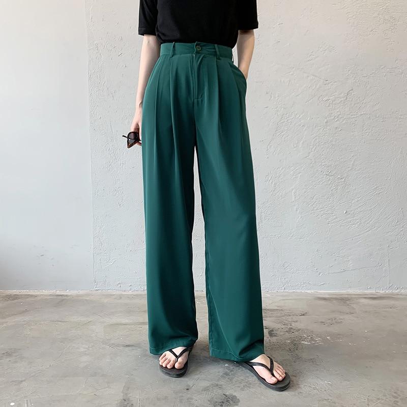 Thin Wide-leg Pants Retro Was Thin Casual Pants High Waist Mopping Pants Loose Straight Pants