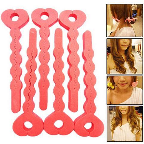 6pcs Magic Sponge Hair Soft Curler Roller Strip Heatless Roll Tools