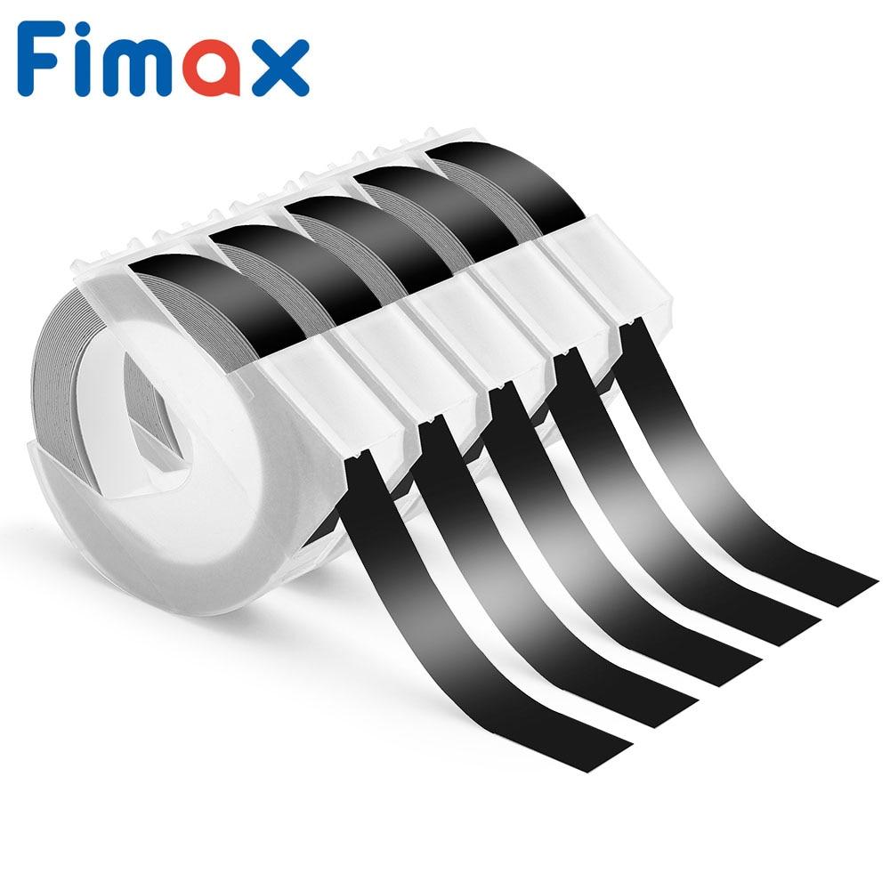 4 Pcs Dymo 3D Embossing Label Maker 520109 S0847730 9mm*3m White on Black compatible Dymo Embossing Plastic Label 12965 12966