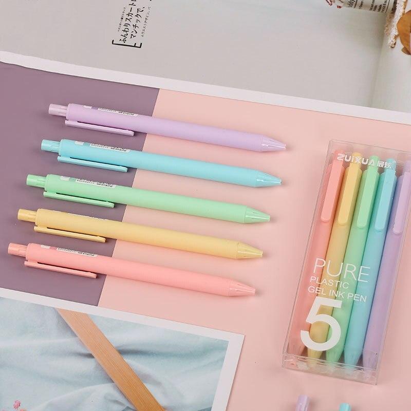 Bolígrafos De Gel De dibujos animados De colores sólidos, bolígrafo esmerilado, bolígrafos De Gel De 0,5mm Stylo Kawaii Canetas, papelería para estudiantes