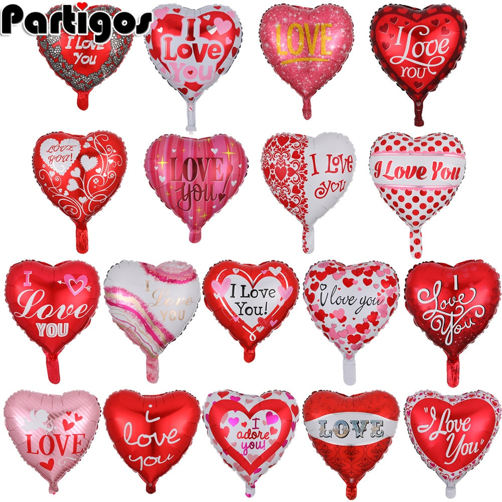 18inch 10pcs Heart love Balloons Inflatable Foil Balloon Wedding Valentine Day Decorations Helium I Love You Globos
