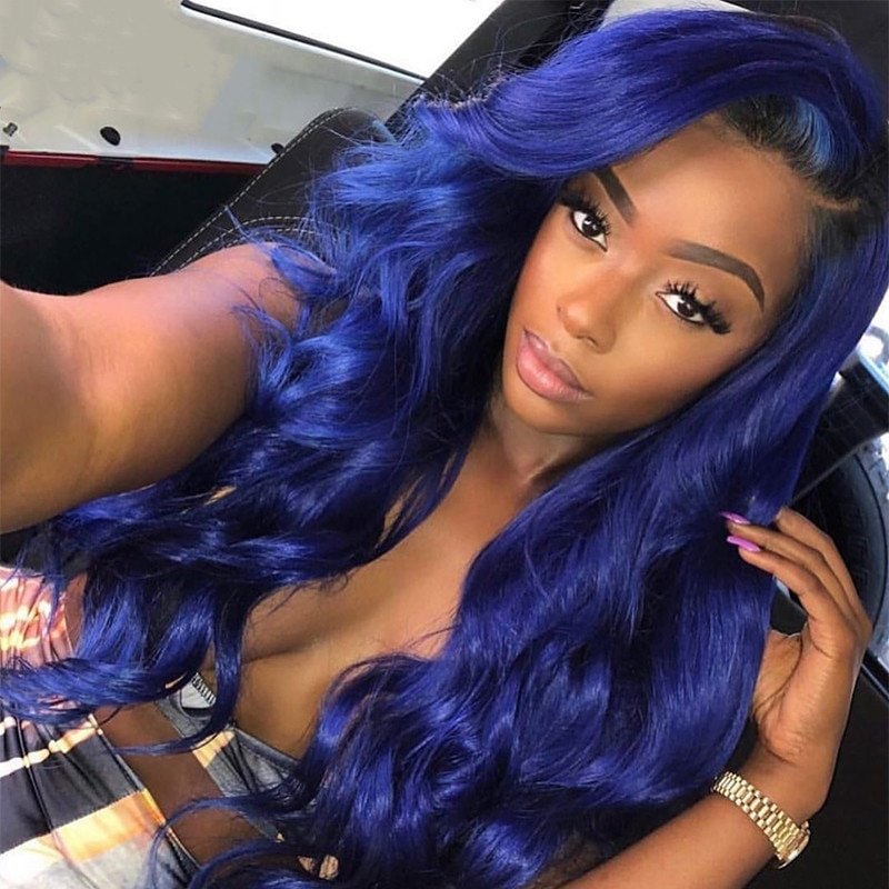 Dark Blue Body Wave Wavy Lace Front Pre Plucked With Baby Hair 180 Density