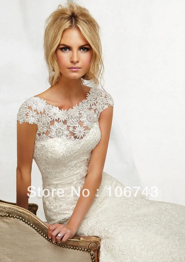 2017 Natural New Vestido De Festa Longo Noiva Sexy Long Cap Sleeve Party Bridal Gown Elegant Venice Lace Mermaid Wedding Dress