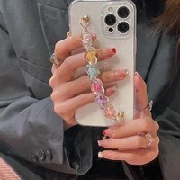 korea love heart bracelet wrist chain case for samsung galaxy f02s f12 f22 f41 f52 f62 quantum a2 core m31 clear soft back cover