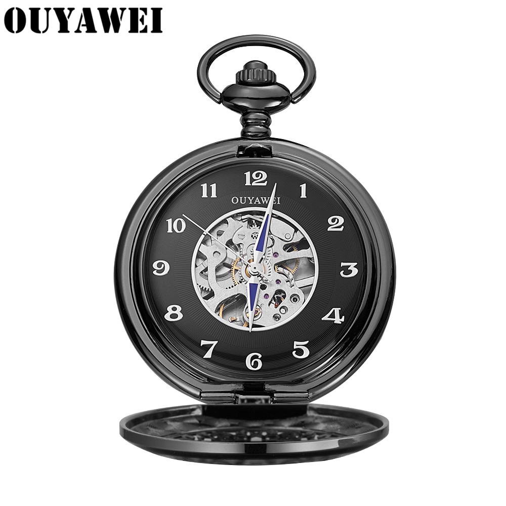 OUYAWEI Brand Men Pocket Watches Mechanical Hand Wind Retro Watch Hollow Case Steampunk Vintage Pendant Necklace Gifts Relojes