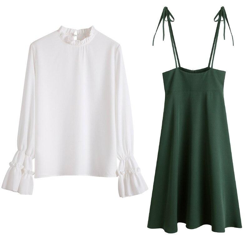 Conjunto de dos piezas de manga acampanada con cuello levantado, blusa blanca, cintura alta, longitud hasta la rodilla, Falda plisada, conjunto de pradera Chic