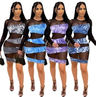 rstylish 2021 night party clubwear sheer mesh patchwork long sleeve sexy elegant summer women bodycon mini dress