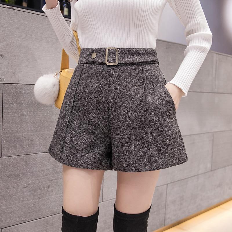2020 Autumn New Women Wool Shorts Korean Style High Waist Wide Leg Shorts Casual Winter Ladies Woolen Shorts недорого