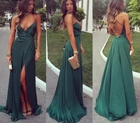 2021 green spaghetti straps evening dresses long backless front split satin formal prom party gowns robe de soire de mariage