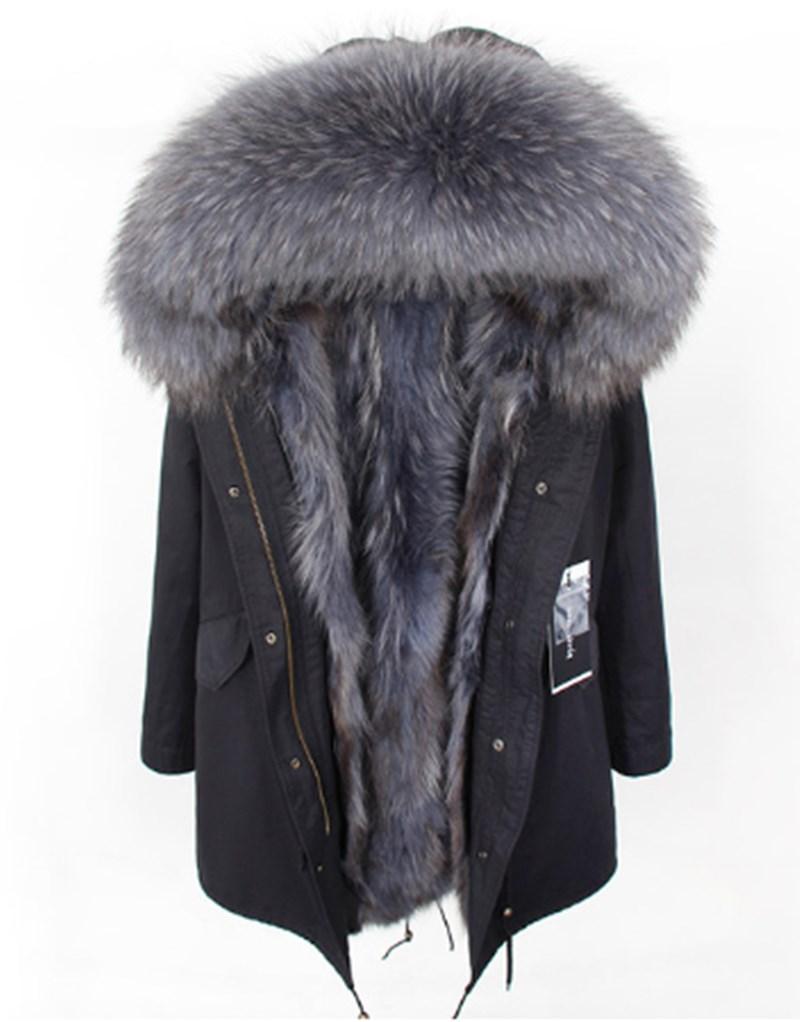 2021 معطف الفرو الحقيقي سترة الشتاء الرجال سترة طويلة مقاوم للماء كبير الطبيعية الراكون الفراء طوق هود سميكة الدافئة ريال فوكس الفراء بطانة