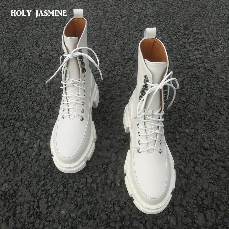 2021 ربيع جديد الدانتيل متابعة حذاء من الجلد للنساء سميكة القاع جولة تو بوط من الجلد الطبيعي أسود أبيض كل مباراة أحذية منصة