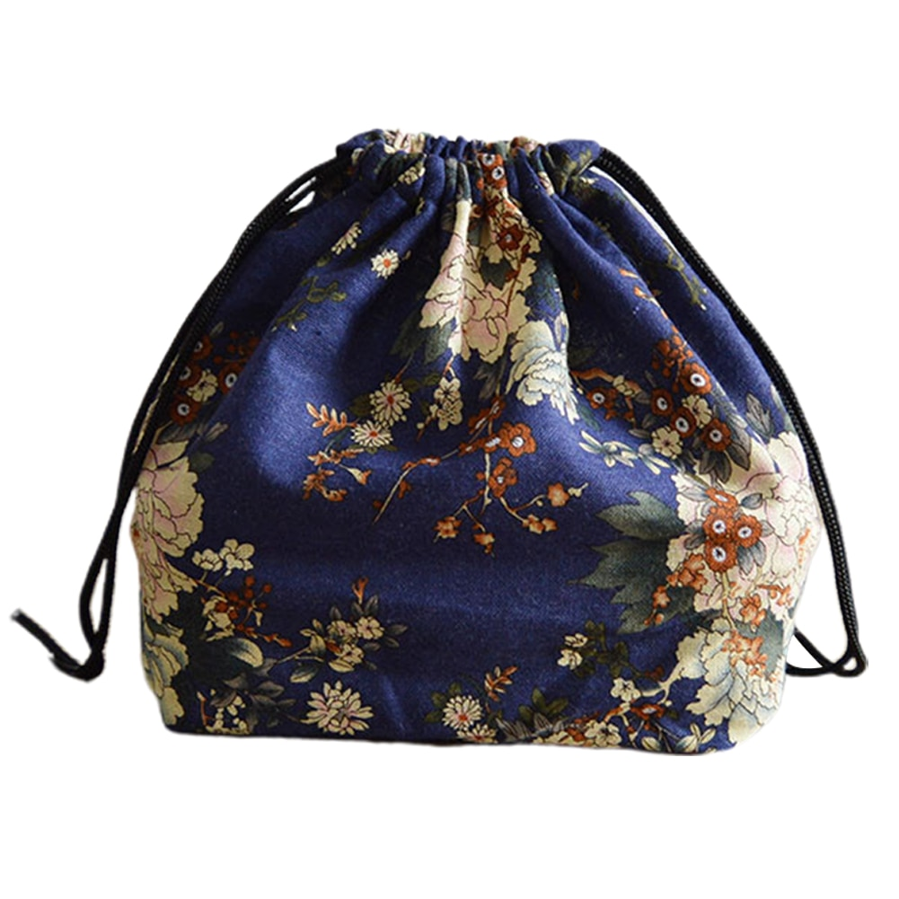 Bolsa Bento portátil viaje escolar estilo japonés algodón Lino caja cordón Picnic estudiantes bolsa de Almuerzo