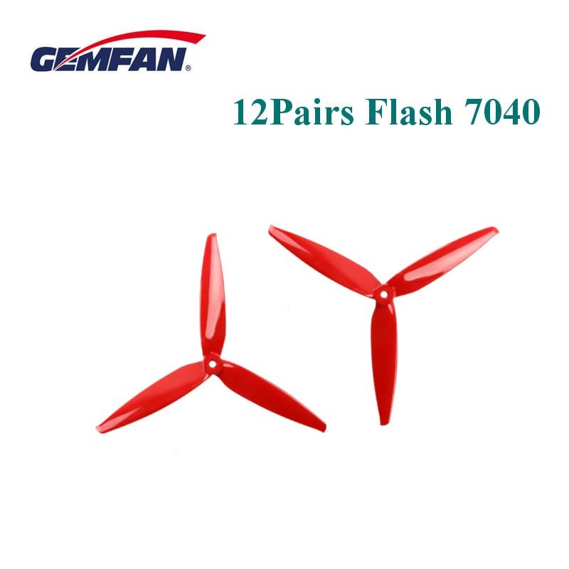 12 pares 24 Uds Gemfan Flash 7040 7 pulgadas hélice de 3 aspas para RC Drone FPV Racing Freestyle de largo alcance 6S 2206 1500KV Motor