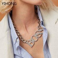 Cadena de oro de moda Hip Hop BOSS collares para Mujeres Hombres Popular letra de cristal colgantes collar joyería tejido Accesorios