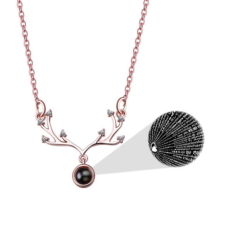 Вечная память 100 языков я люблю тебя проекция буквы кристалл кулон ожерелье для женщин ювелирные изделия из нержавеющей стали ювелирные изделия