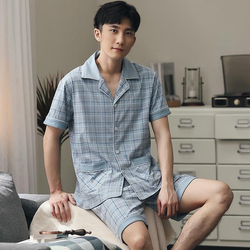 Summer Cotton Pajama Men Plaid Short Sleeve + pants Sleepwear Pyjama Hombre Pijamas Nightwear Homecloth Short Suit Plus Size 5XL