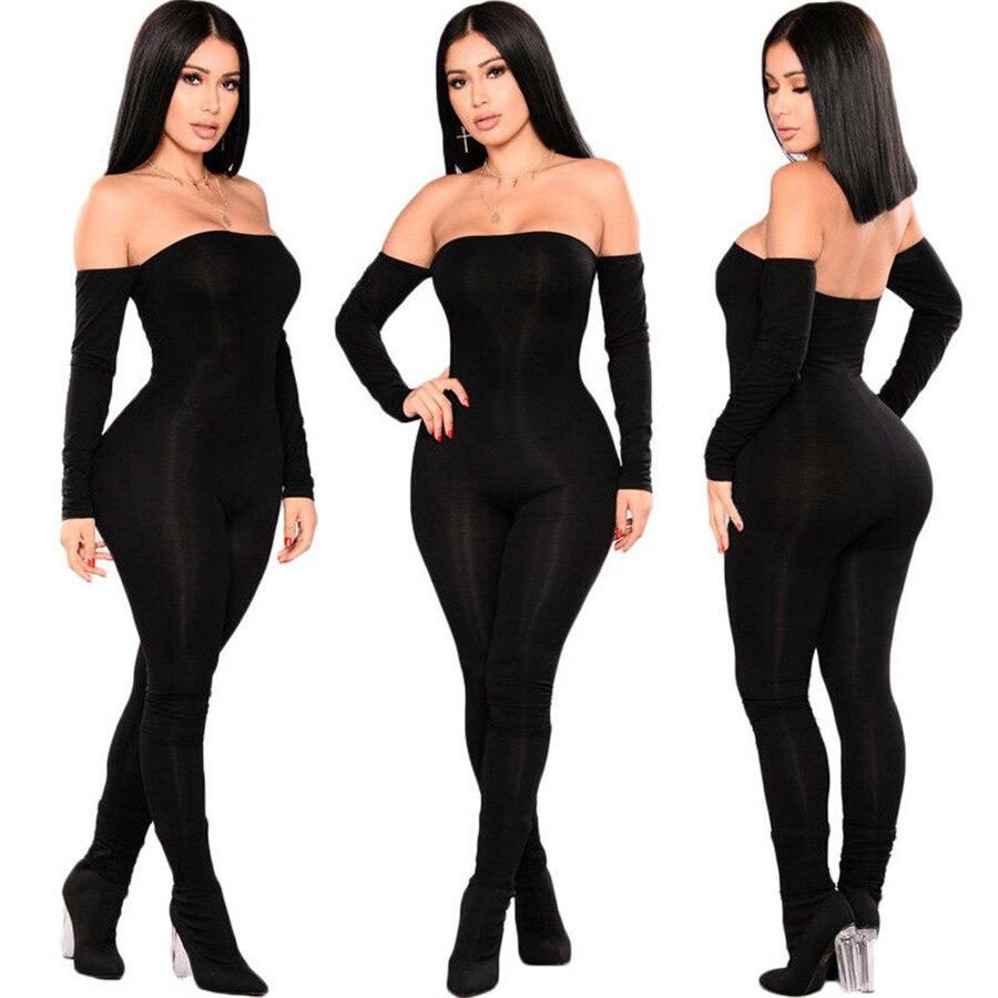 Women's Casual Slim Off Shoulder Playsuit Bodycon Long Sleeve Jumpsuit Romper Trousers