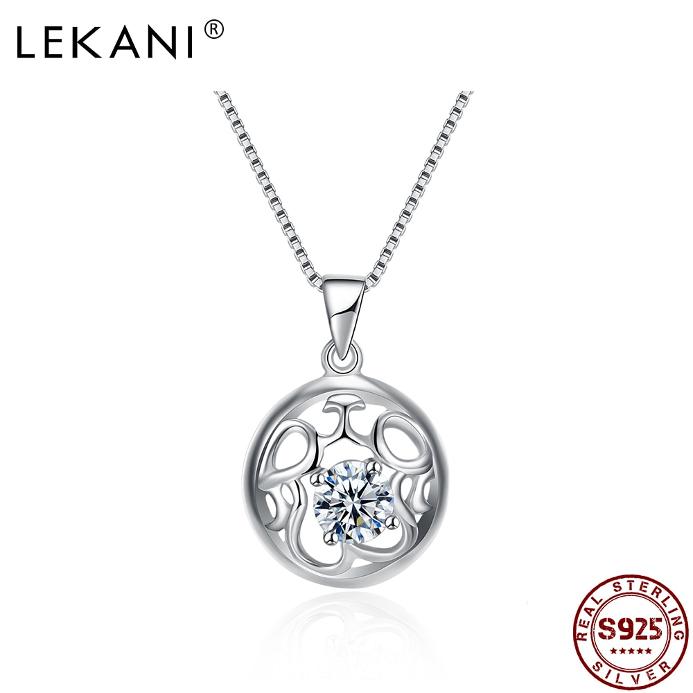 LEKANI Real 925 Sterling Silver Round Hollow Pattern Pendant Necklaces For Women Trendy Zircon Box C