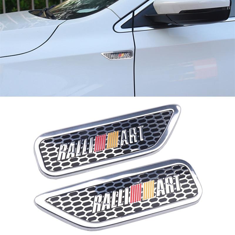 Autocollant de côté de garde-boue   Autocollant de voiture, Ralli Art en aluminium 3D, autocollant de Badge pour Mitsubishi RalliArt Lancer outlander asx style de voiture, 2 pièces