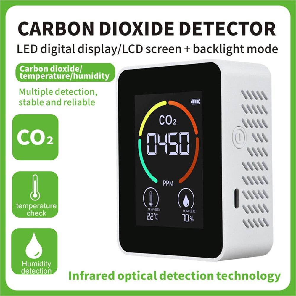 CO2 للكشف عن جودة الهواء المحمولة رصد TVOC الفورمالديهايد اختبار ثاني أكسيد الكربون كاشف درجة الحرارة جهاز اختبار الرطوبة