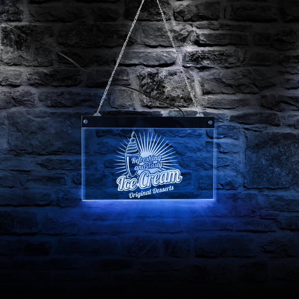 Refrescante y sabroso helado LED neón luz de pared Logotipo de negocio Tablero de muestra postres originales iluminación tienda tablero de publicidad