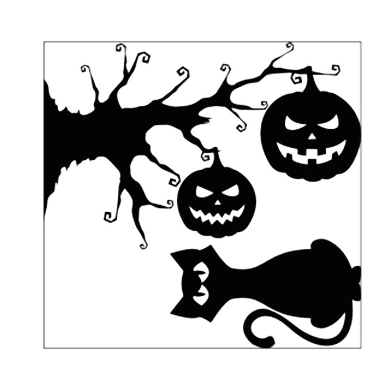 Calcomanías para pared de Halloween calabaza linterna vacaciones árbol de Navidad cola curva gato negro decoración del hogar pegatina LAD-venta
