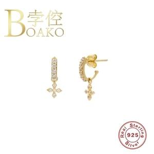 Женские серьги в виде четырех листьев BOAKO, 925 пробы серебряные серьги, ювелирные изделия для пирсинга, серьги-подвески #9,10