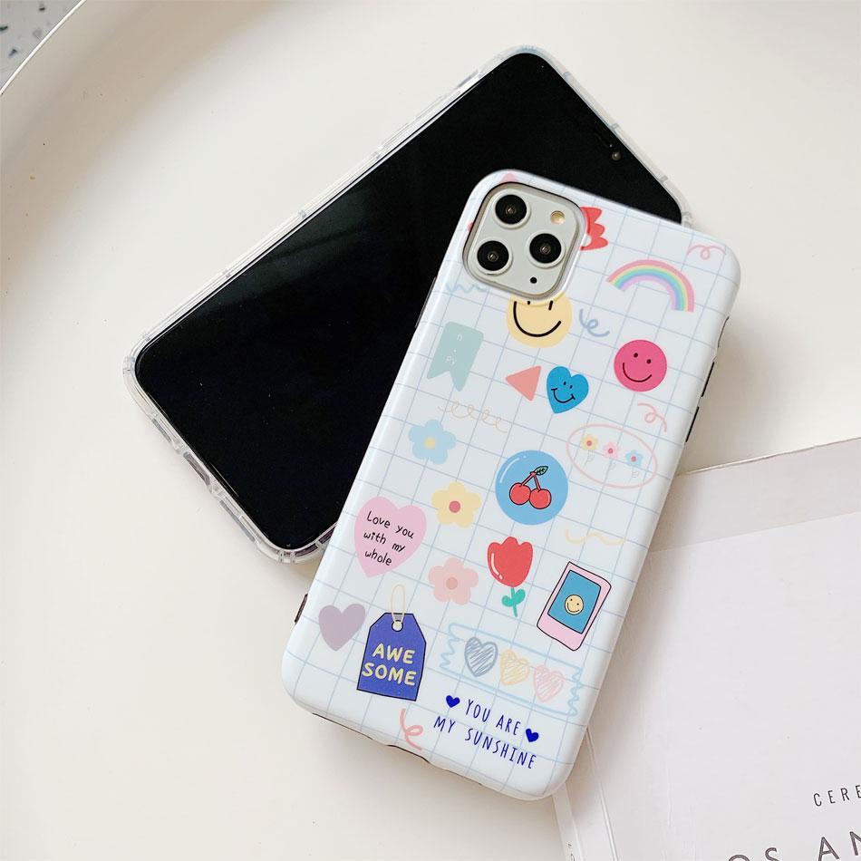 Para iphone 11 funda etiqueta geométrica cara sonriente TPU blandas de moda funda para teléfono móvil para iphone 7 De Apple 8 plus X XR XS MAX