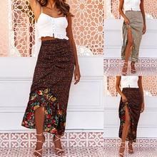 2020 Vintage mode jupe longue femmes imprimé fleuri vêtements irréguliers ourlet rides Ropa Mujer volants dentelle jupe longue Spodnica # C12