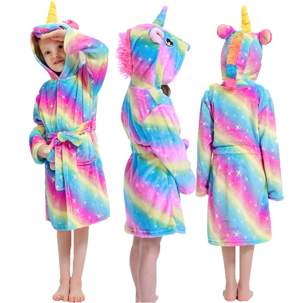 Girls Animal Bath Robe Sleepwear Unicorn Bathrobe Nightgowns Warm Robe Kigurumi Robes Pajamas Hooded Pajamas Bathing Suit