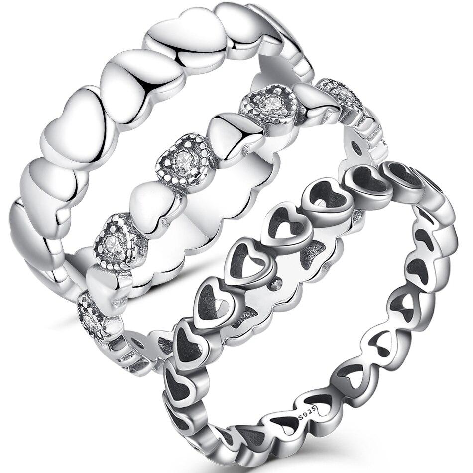 ELESHE, anillo de Plata de Ley 925 auténtica apilable con corazón de cristal CZ, anillos de dedo para mujer, regalo de joyería de aniversario de boda