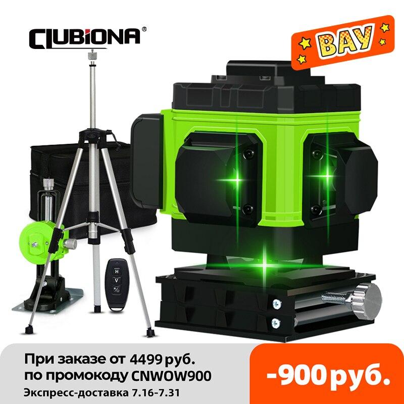 كلوبيونا IE12A اللاسلكية التحكم عن بعد ثلاثية الأبعاد مستوى الليزر الأخضر 360 درجة 12 خطوط مع بطارية ليثيوم أيون الطابق رفع وقوس الجدار