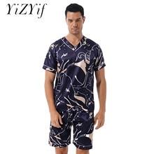 Fashion Print Satin Pajama Set Mens Male Casual Sleepwear Loungewear Two-piece Nightwear Homewear Sl