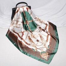 2021 New Fashion Silk Square Scarf For Women 90*90cm Neck Hair Tie Band Bag Warp Soft Neckerchief Hi