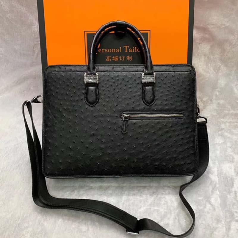 Nuevo maletín wanexing de cuero de avestruz de Sudáfrica, bolso de mano de moda de negocios para hombre