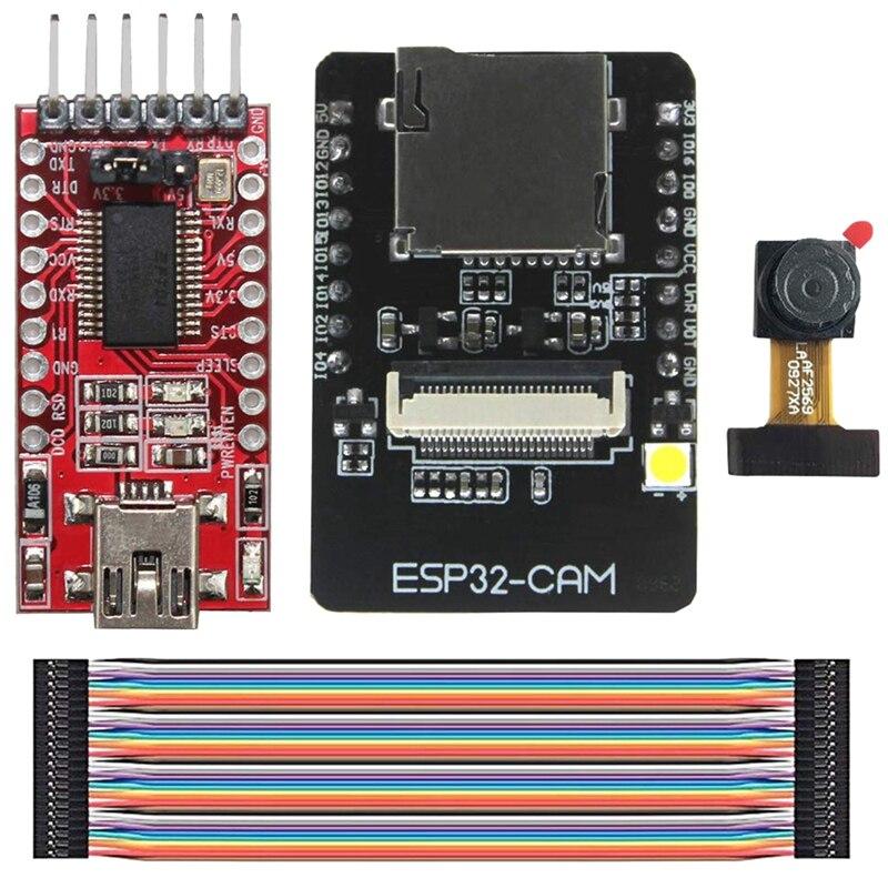 HOT-Esp32-Cam Cámara Wifi + módulo Bluetooth 4M Psram Dual Core 32-Bit Cpu Placa de desarrollo Ov2640 2Mp módulo de cámara + 8Dbi W