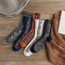 New Retro Ethnic Style Women Socks with Flower Casual Comfortable Ladies Funny Cute Spring Autumn Co