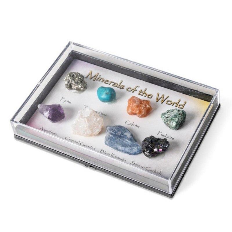 Piedras minerales naturales, especímenes de cristal, decoración de ciencia, popularización, materiales geológicos naturales
