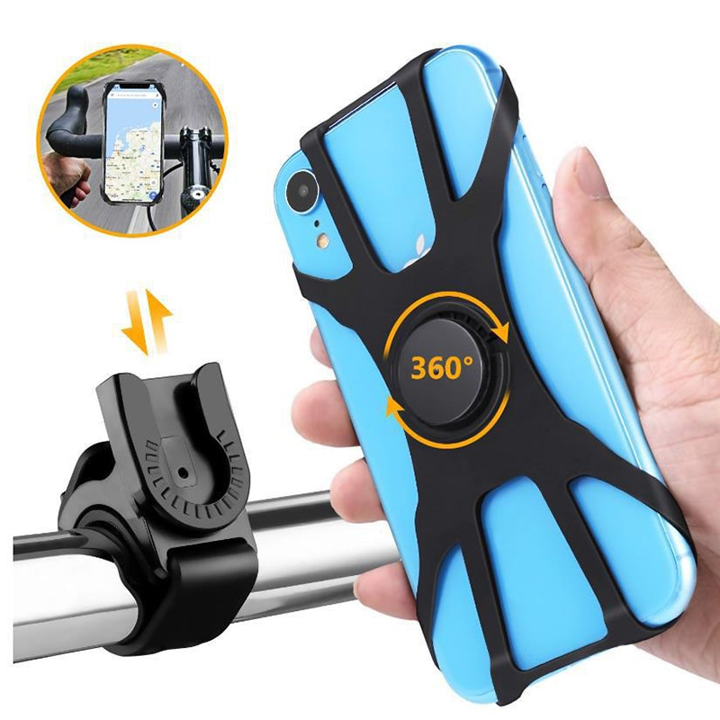360° Universal Silicone Phone Holder Bicycle Motorcycle Bike Creative Handlebar Stand Balance Car Phone Accessories Clip Holder