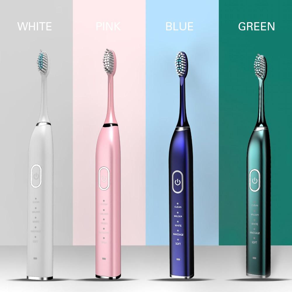 Inteligente quente 10 modos sonic escova de dentes elétrica usb recarregável ultra sonic escova clareamento 5/ 10 cabeça substituição à prova dwaterproof água