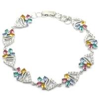 21x10mm multi color created citrine aquamarine tourmaline violet tanzanite zirconia womans party silver bracelet 8 0 9 0inch