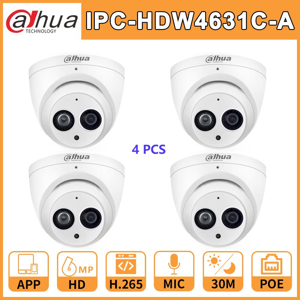 Wholesale 4 Pcs./Lot IPC-HDW4631C-A Dahua DH HD 6MP Network IP Camera Upgrade from IPC-HDW4431C-A PoE Mini Dome MIC CCTV Cam dahua ip camera ipc hdw4433c a 4mp network ip camera onvif built in mic poe 4433c a 4431c a home security cctv h 265 ipc camera