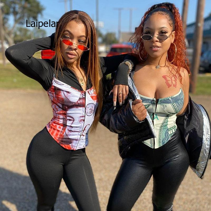 Fashion Design Print Womens 2021 Spring and Summer New U-Neck Sexy Slim High Waist Top